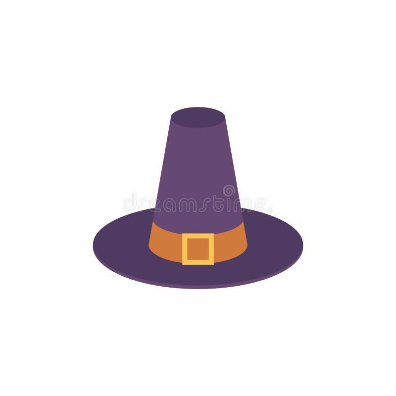 导航有扣和传送带的香客蓝色帽子 皇族释放例证