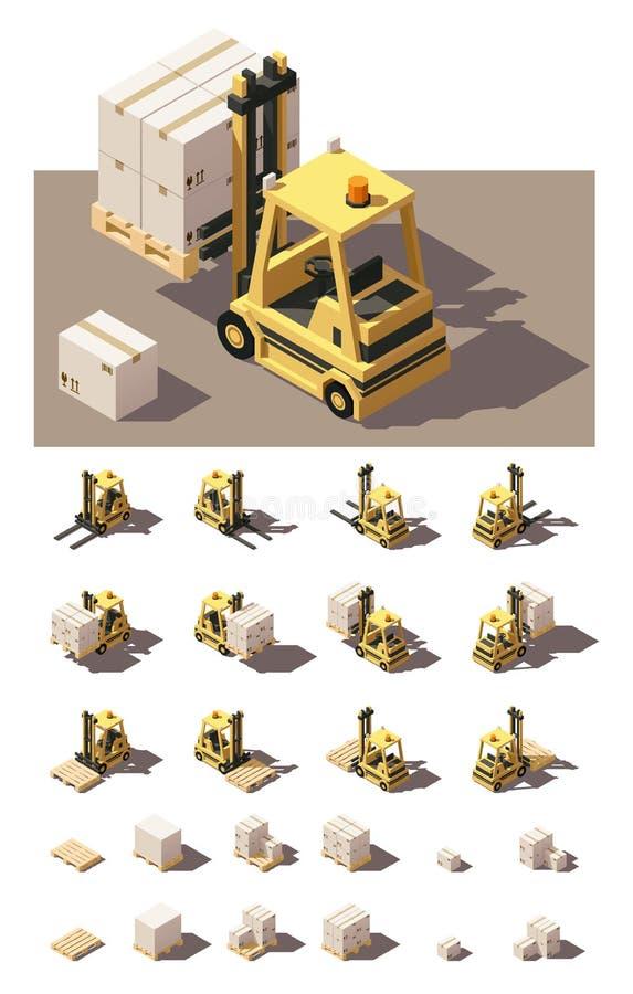 导航有条板箱和板台象集合的等量铲车 向量例证