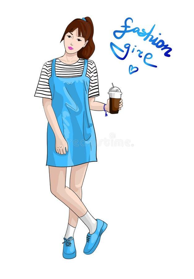 导航有杯子的手拉的时尚女孩在蓝色礼服和运动鞋 皇族释放例证