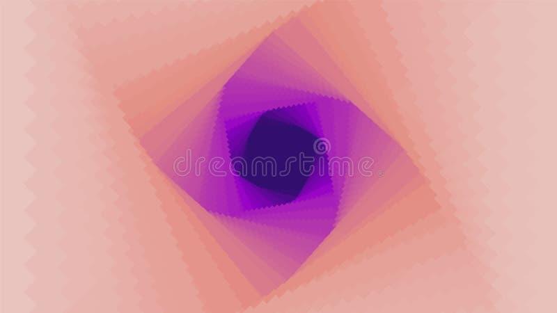 导航有梯度深度作用的无限菱形或方形的扭转的隧道 您的摘要网络五颜六色的背景 向量例证