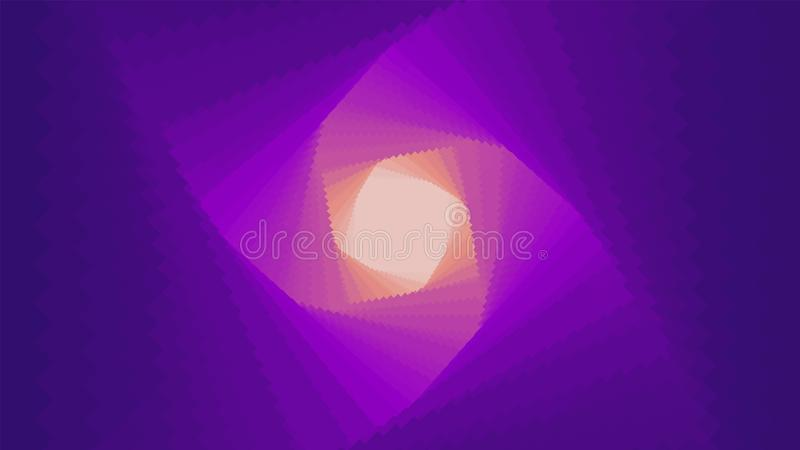 导航有梯度深度作用的无限菱形或方形的扭转的隧道 您的摘要网络五颜六色的背景 库存例证