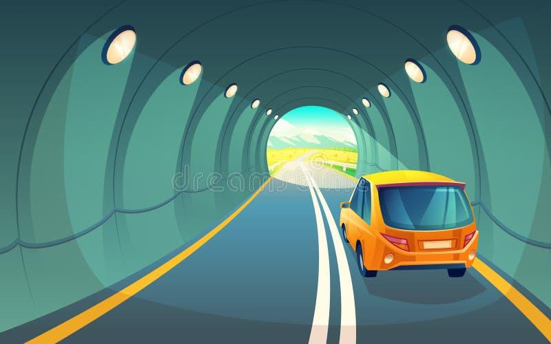 导航有汽车的,车的高速公路隧道 皇族释放例证