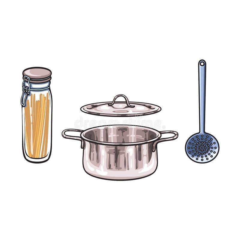 导航有盒盖剪影的金属罐漏杓玻璃瓶子 向量例证