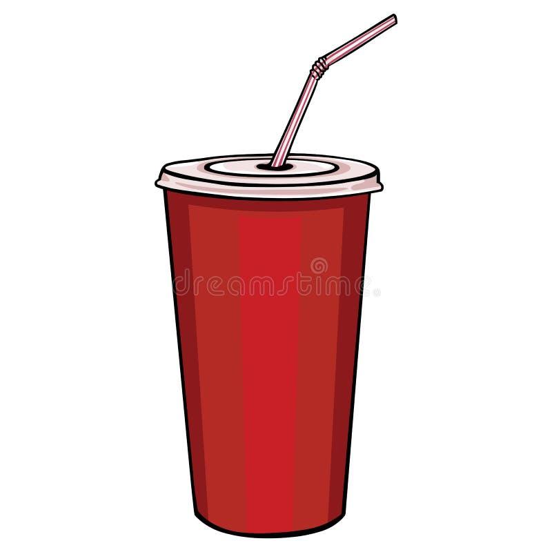 导航有盒盖和秸杆的红色塑料杯子 向量例证