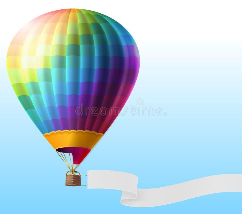 导航有空白的丝带的现实热空气气球 库存例证
