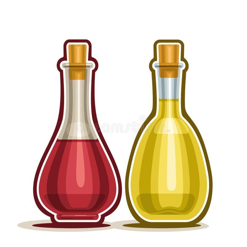 导航有红色和白葡萄酒醋的商标蒸馏瓶 皇族释放例证