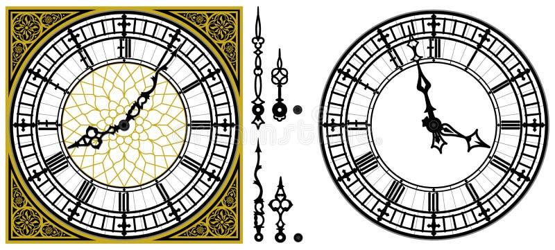 导航有罗马方形的金黄的装饰品的古色古香的老时钟 皇族释放例证