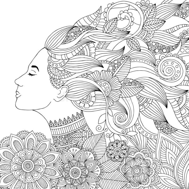 导航有花卉头发的手拉的例证妇女成人彩图的 成人反重音的徒手画的剪影 皇族释放例证