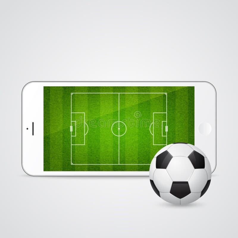 导航有足球的现代白色智能手机 向量例证
