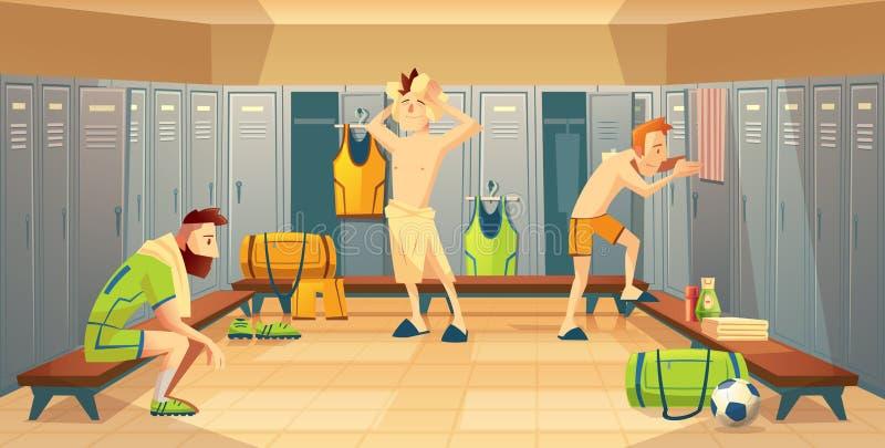 导航有足球运动员的,衣物柜更衣室 库存例证