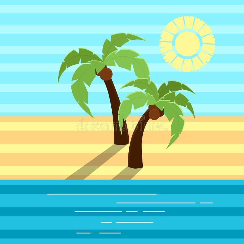 导航有阴影的例证两棕榈在海滩 向量例证