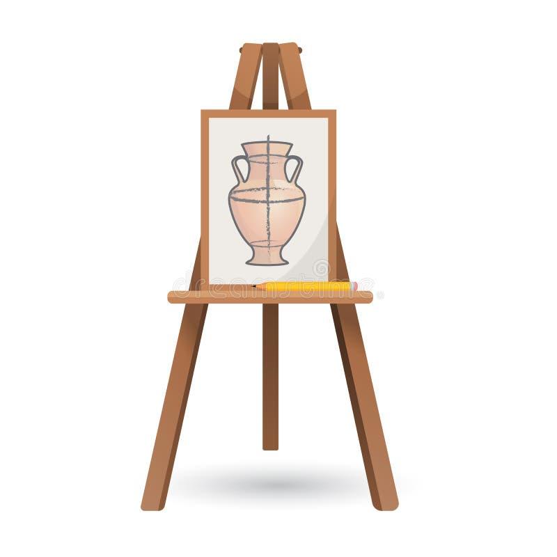 导航未完成的花瓶的例证在被隔绝的木画架的 向量例证
