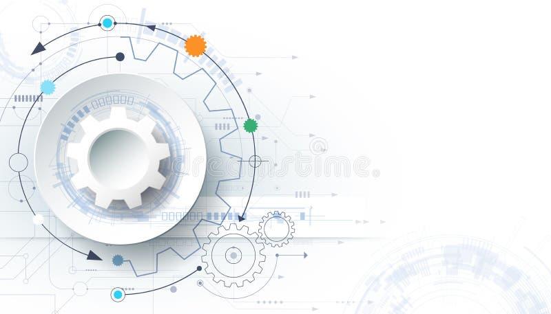 导航未来派技术背景, 3d白皮书在电路板的链轮 库存例证