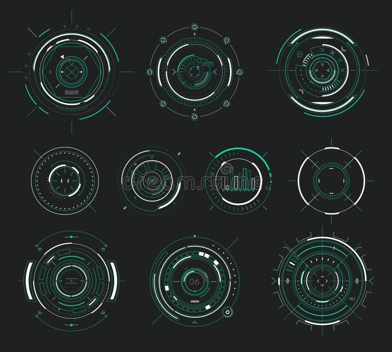 导航未来派用户界面HUD,科学幻想小说显示通报元素 皇族释放例证