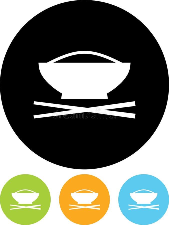 导航杯子与在白色隔绝的筷子例证的米 向量例证