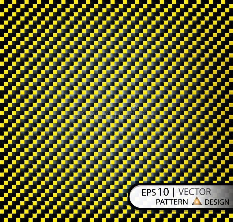 导航样式无缝的碳纤维黄色在影片的生产的面具下与纹理的 库存例证