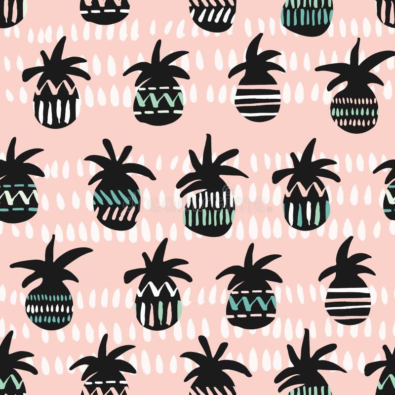 导航桃红色和黑色被仿造的菠萝剪影无缝的样式背景 向量例证
