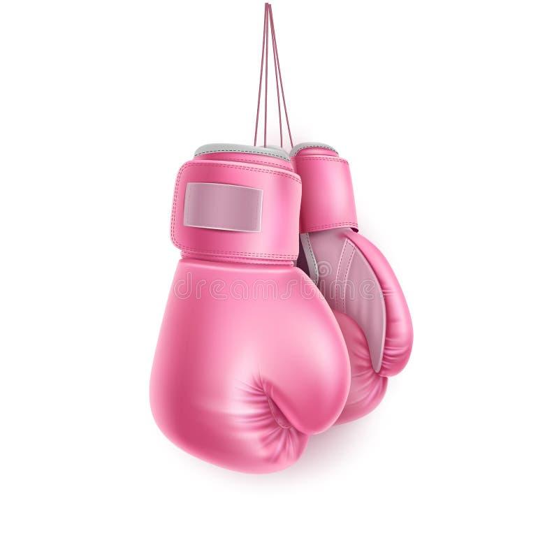导航桃红色对在现实的鞋带的拳击手套 向量例证