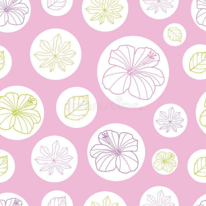 导航桃红色,并且白色热带叶子和木槿开花无缝的样式背景 为织品完善,scrapbooking,墙纸 库存例证