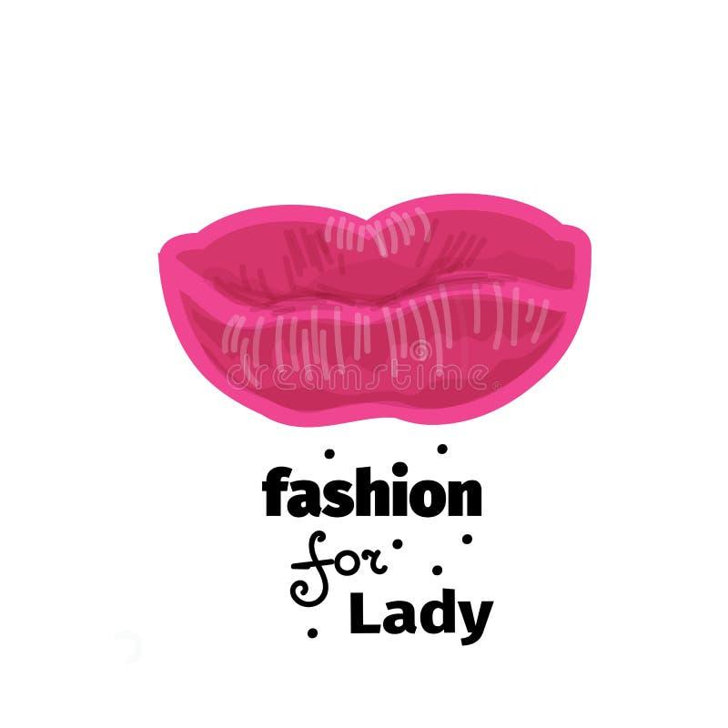 导航桃红色嘴唇的例证印刷品的,商标,横幅 皇族释放例证