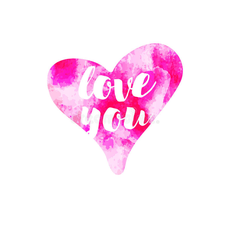 导航桃红色水彩心脏爱您白色背景的 包裹的浪漫元素,组织,贺卡 库存例证