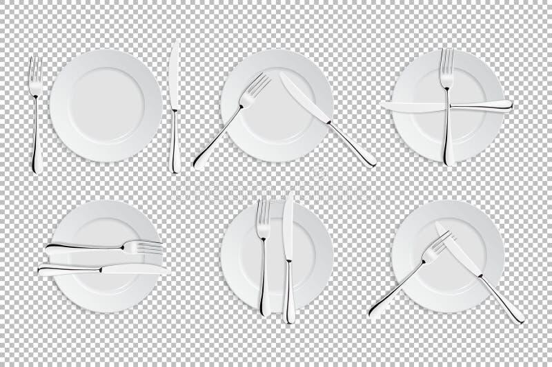 导航桌礼节的现实利器和标志 承办酒席设施象 套叉子,餐刀 皇族释放例证