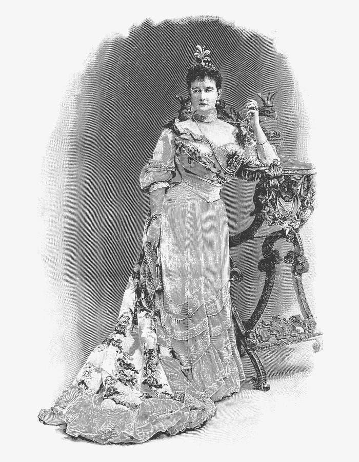 导航梅克伦堡的玛里公爵夫人Schwer板刻画象  库存例证