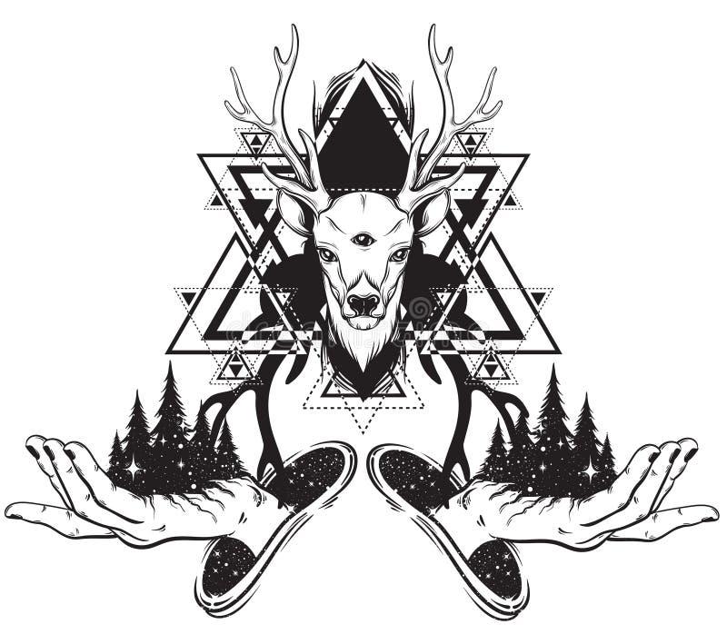 导航森林的手拉的例证在人的手和鹿上的与三只眼睛 向量例证