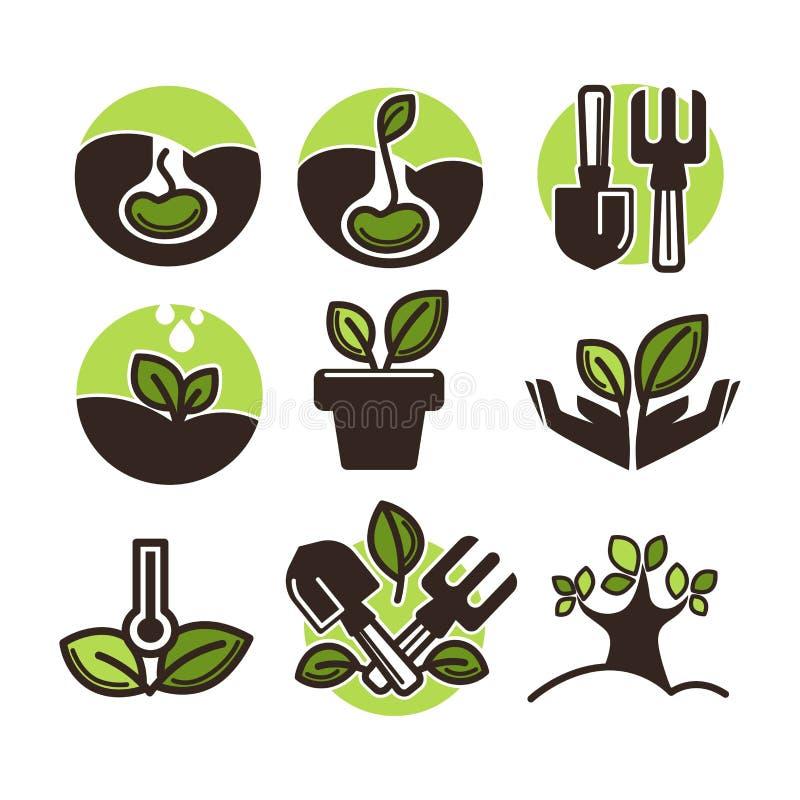 导航植物和树新芽为从事园艺或种植设置的传染媒介象 向量例证