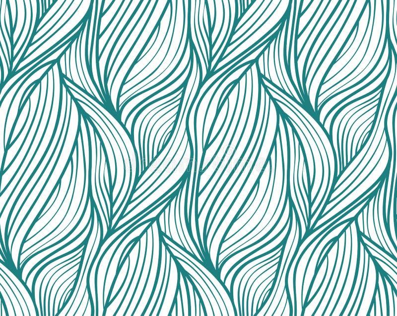 导航植物被画的线无缝的波浪背景  库存例证