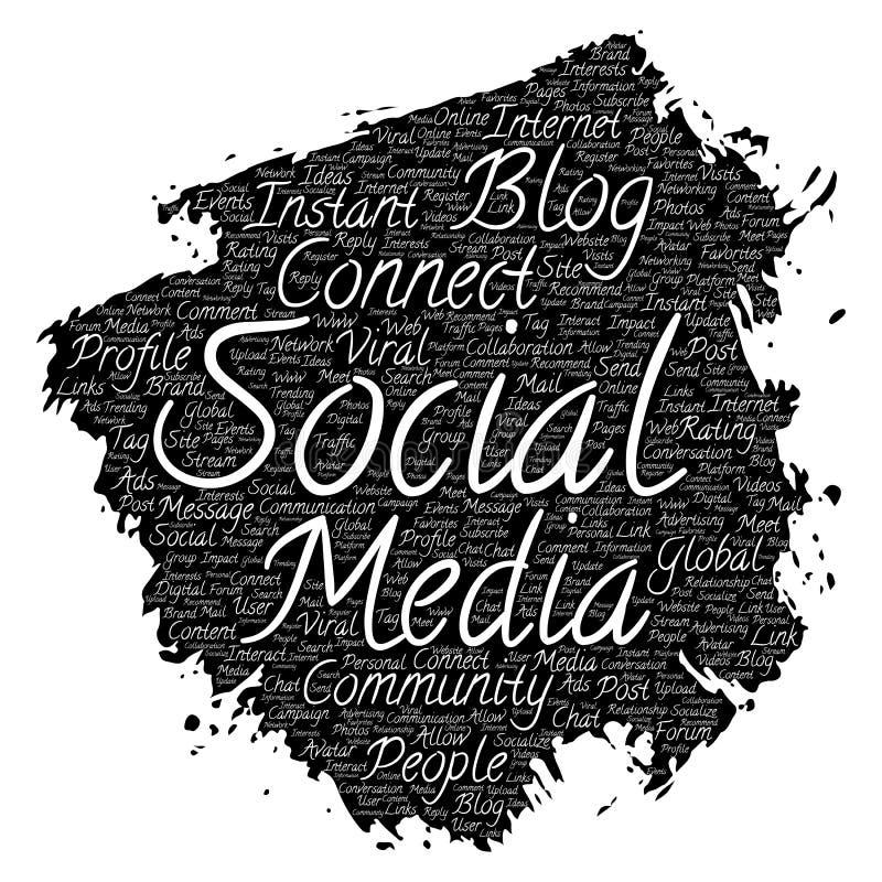 导航概念性社会媒介网络或通信网营销技术刷子或者绘词云彩被隔绝在backgrou 向量例证