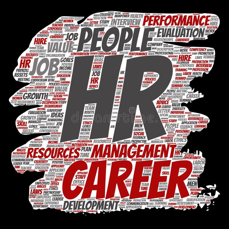导航概念概念性hr或人力资源职业发展管理刷子或纸词云彩被隔绝的背景 workpl拼贴画  向量例证