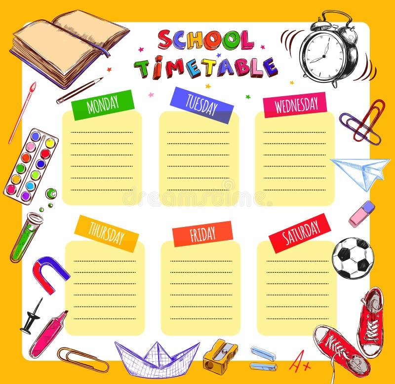 导航模板学生和学生的学校时间表 例证包括学校用品的许多手拉的元素 斯霍 库存例证