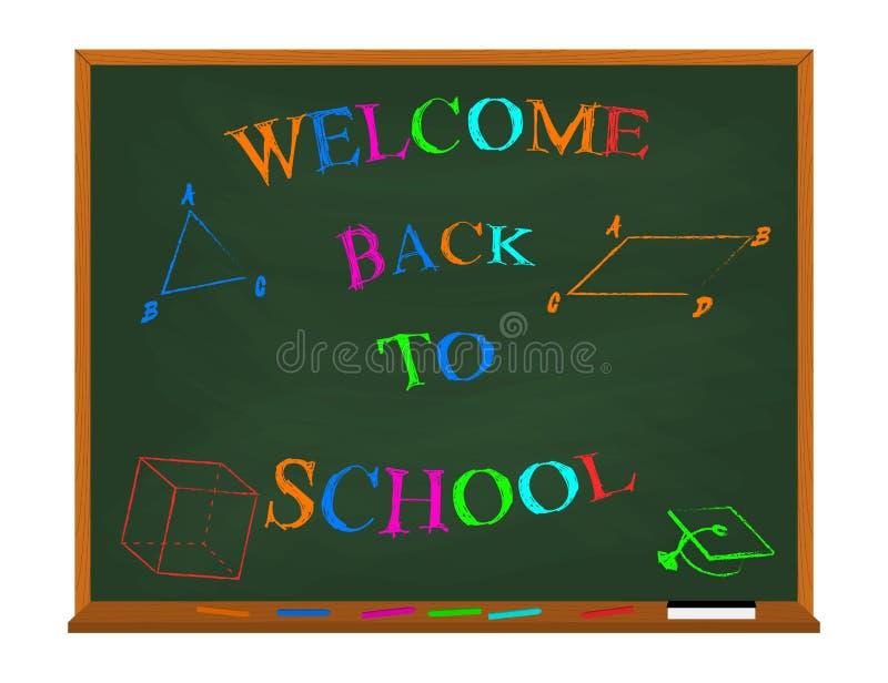 导航欢迎回到在黑板的学校五颜六色的字法有几何图的 查出在白色 皇族释放例证