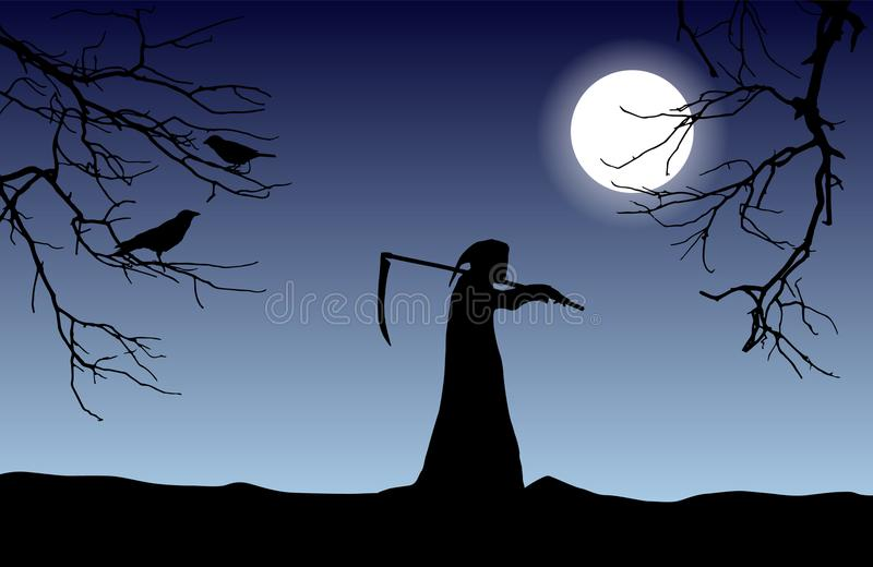 导航死亡剪影在拿着在shoul的敞篷的一把大镰刀 向量例证