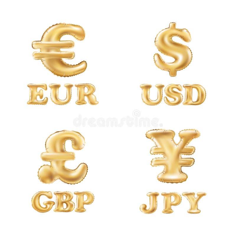 导航气球金美元、欧元、磅和日元货币象 皇族释放例证