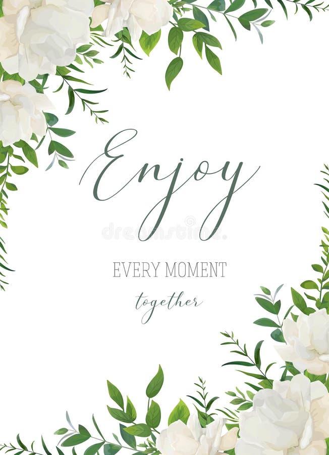 导航水彩花卉问候,婚礼邀请,保存日期 库存例证