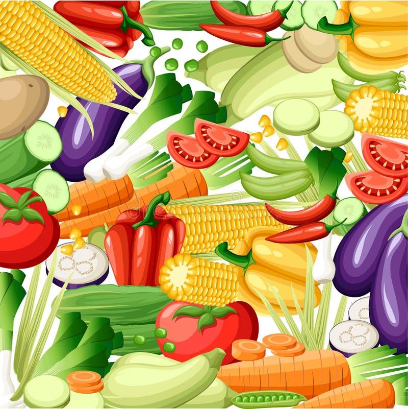 导航水果和蔬菜无缝的样式或背景 水果和蔬菜设计元素和象网的,商店,组装 皇族释放例证