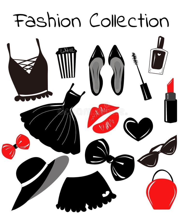 导航汇集,集合,与时尚女孩辅助部件,项目速写,单色剪贴美术 时髦的印刷品 皇族释放例证