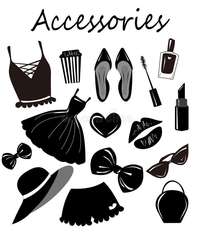 导航汇集,集合,与时尚女孩辅助部件,项目速写,单色剪贴美术 时髦的印刷品 向量例证