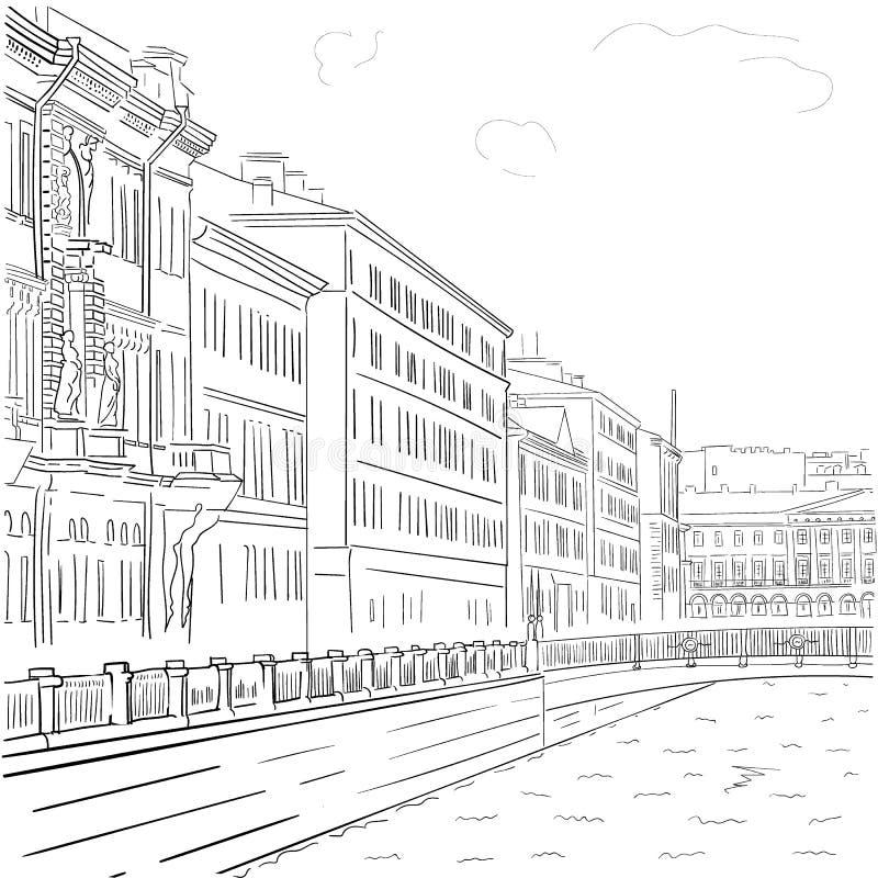 导航江边大厦的手拉的黑白图画的图象在圣彼德堡的历史的中心 皇族释放例证