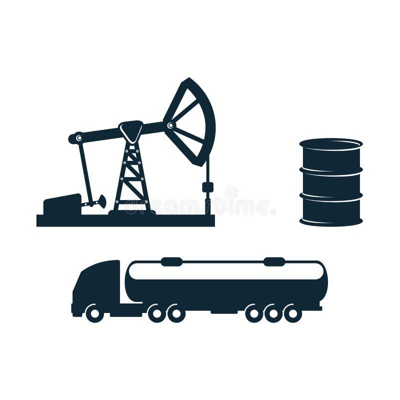 导航汽油罐车,油桶,井架泵浦 库存例证