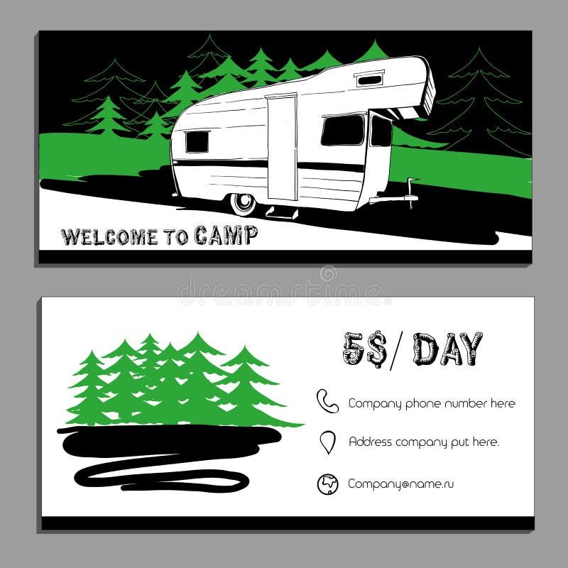 导航汽车游乐车露营者货车加州的例证 库存例证