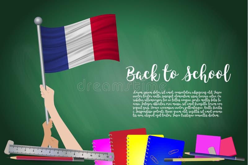 导航法国的旗子黑黑板背景的 与手阻止的教育背景法国旗子 回到学校wi 库存例证