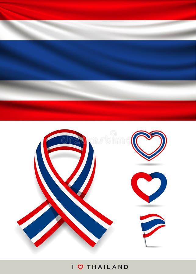 导航泰国的旗子和与丝带心脏的丝带旗子 向量例证