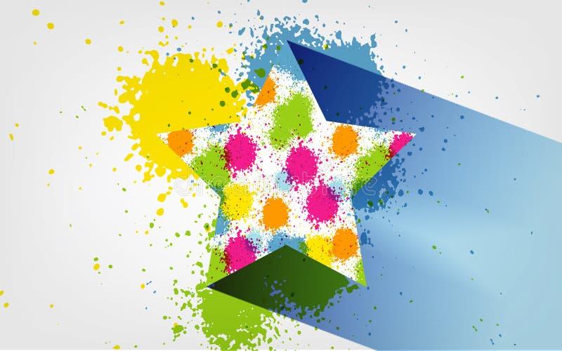 导航泼溅物五颜六色的星标志象,被构造的,手画刷子冲程,光谱,轻拍,涂抹,艺术性的难看的东西横幅 皇族释放例证