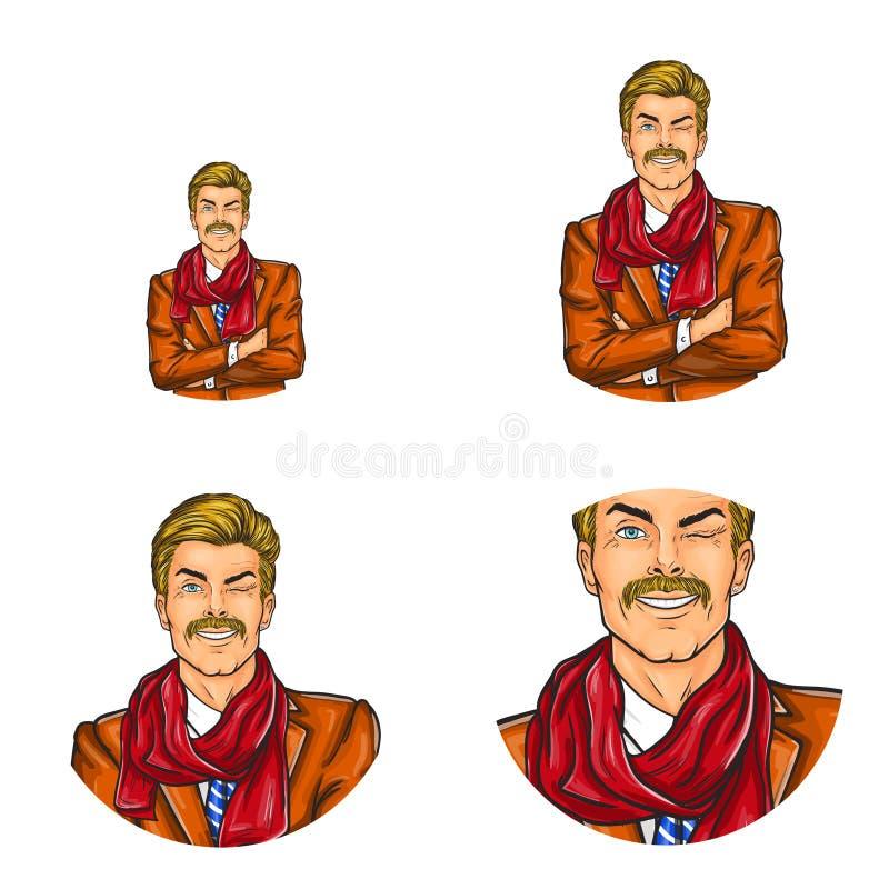 导航流行艺术具体化,英俊的年迈的人,在服装的winky面孔象有髭的 伟大为互联网,闲谈,博克 皇族释放例证