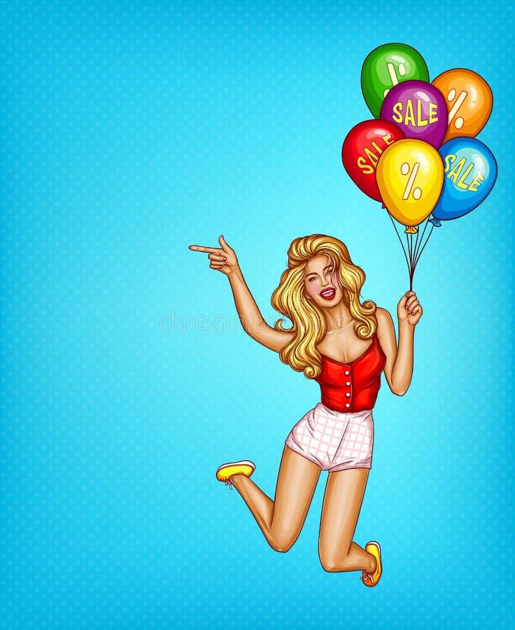 导航流行艺术妇女,有销售的气球 库存例证