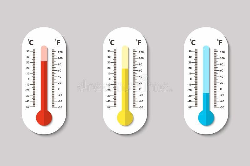 导航测量热、法线和寒冷在平的样式的摄氏和华氏气象学象温度计 设计 库存例证