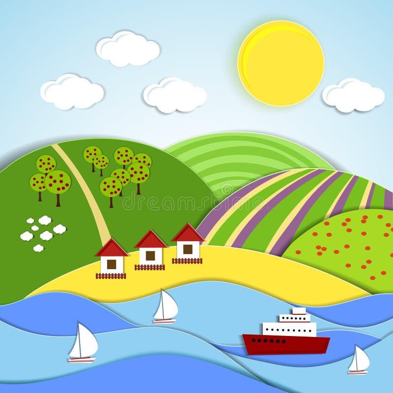 导航海太阳和青山风景  皇族释放例证